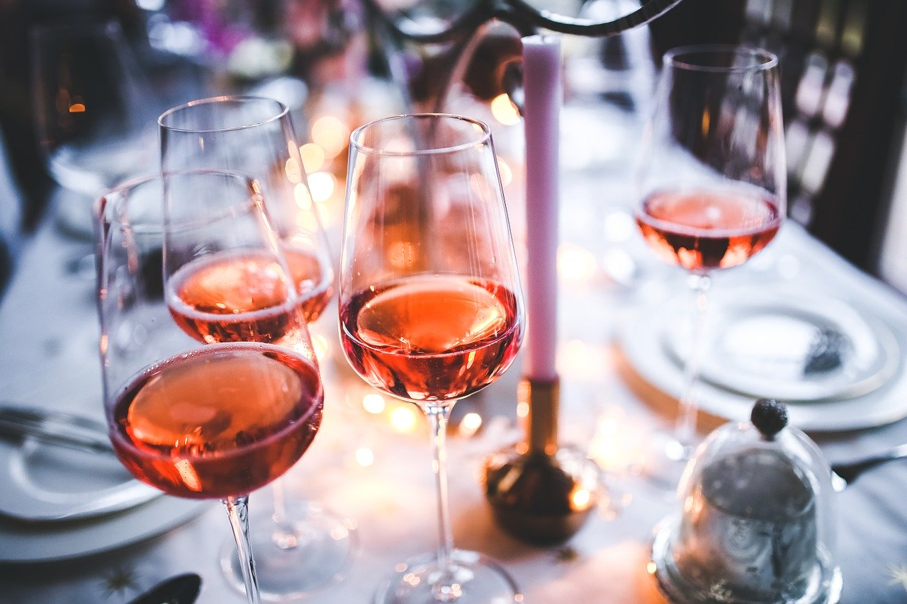 wine, rose, glass